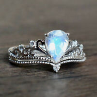 Women Fashion 925 Silver Fire Opal Crown Ring Wedding Engagement Jewelry Gift