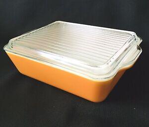 Vintage Orange  Pyrex #503 1 1/2 Pint  Refrigerator Dish with Ribbed Lid