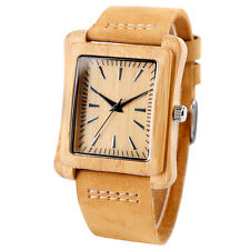 Casual Rectangle Bamboo Nature Wood Genuine Leather Strap Men Women Wrist Watch
