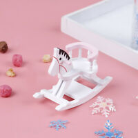 1:12 Dollhouse Miniature White Wooden Rocking Horse Chair Furniture ToysJ mi
