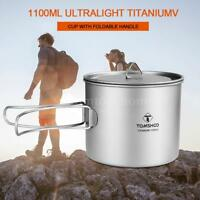 TOMSHOO 1100ml Titanium Pot Ultralight 2-in-1 Outdoor Camping Water Mug Cup L4L5