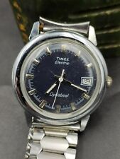 Vintage Timex Electric Dynabeat Men's Blue Face  - working good ,new battery