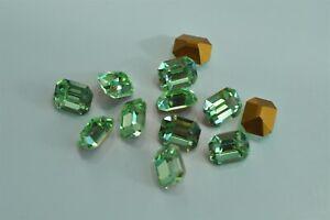 6 Swarovski 10x8mm Chrysolite Octagon Shape Crystal Rhinestones #4600 -V4572