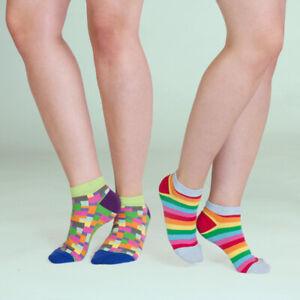 Unabux Sneaker Doppelpack CRAZY RAINBOW, bunte Socken m. Regenbogen und Quadrate