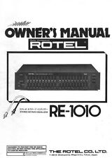 Rotel RE-1010 Equalizer Owners Manual