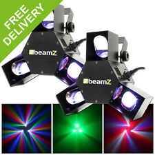 2x Beamz LED DMX Triple Flex Scanner Lights DJ Disco Party Club Stage Lighting