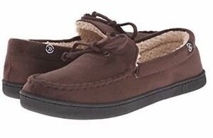Isotoner Brown Micro-suede Gel-Infused Memory Foam Sherpa Lined Moccasin Slipper
