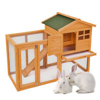 """56"""" Wooden Rabbit House Hutch Chicken Coop Bunny Small Animal Cage with Tray Run"""