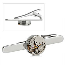 Mens Watch Movement Tie Clip Steampunk vintage antique groom pin Clasp bar slide