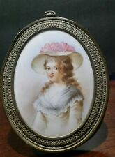 French France Miniature Painting Of a Young Woman Portrait Signed