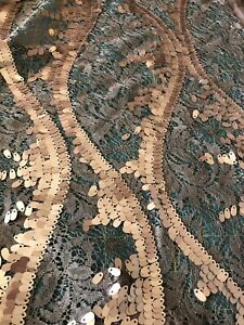 Sequin Lace FABRIC 1 Metre CRAFT SEWING. Beige Gold Evening Wear Mesh Lace