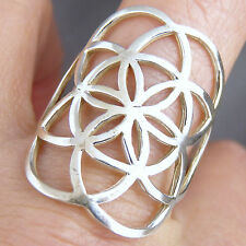 Jali Art Ring Solid 925 Sterling Silver Seed Of Life Size Us 7.5 (P) SilverSari
