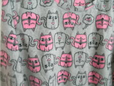 NICE Snuggly Soft Fleece Kitty Cat NIGHTGOWN Pajama Grey Pink Comfy Nightie L