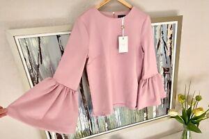 TED BAKER Lolare neoprene top Size 3 4 UK 12 14 Bell sleeve Pink