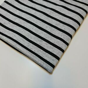 "100% Cotton Jersey Stretch Grey Black 15mm Stripe Fabric 58"" By the Meter"