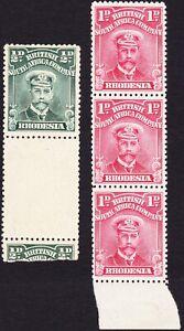 Rhodesia 1922-3 WHITE PAPER ½d & 1d STRIP SG282 & SG285 MLH OG-