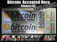 5x SILVER Bitcoin Stickers decals POS till shop p.o.s store CRYPTO bar sign BTC