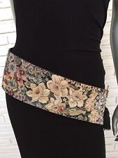 Vintage Wide Tapestry Belt Floral Print Tapestry With Tassel 1980's Style