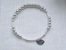 LADIES  STERLING SILVER STACKING BIRD CHARM NOODLE BRACELET STRETCH GIFT BOX