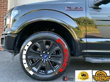 """PERMANENT Tire Lettering FORD F150 RED Stickers Letter Wheel 17""""-26"""" Decal 1.37"""""""