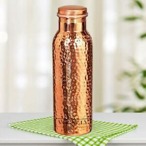 Indian Hammered Copper Bottle 1 Liter Water Bottle 1000 ML Healthy Bottle
