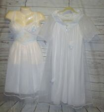 Vtg Gotham Night Gown Robe 2 pc set Lace Peignoir Negligee Nylon Blue Bows Sheer