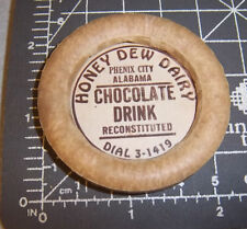 Milk Bottle Cap from Honey Dew Dairy, Phenix City Alabama, Chocolate Drink