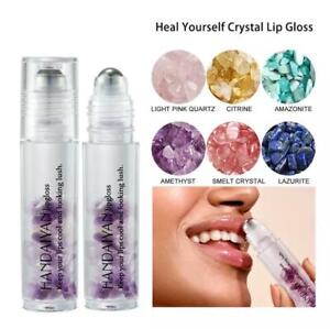 HANDAIYAN Natural Crystal Stone Roller Lip Oil with Stainless Steel Roller Ball