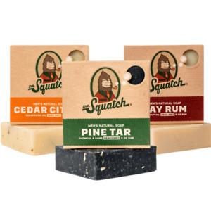 Dr. Squatch Men's Soap Sampler Pack (3 Bars)  Best Seller 30% OFF FREE SHIPPING