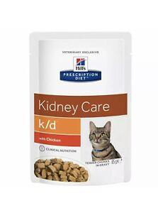 Hills Kidney Care K/D Wet Cat Food Chicken x12 85g Pouches FREE POSTAGE