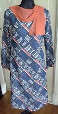 Retro shift dress blue orange lined poly vgvc HARMONY s14 neck detail