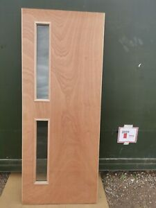 DIF9460 Howdens Spey Plywood Glazed 16G FD30 2'6 Int. Fire Door