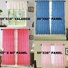 2PC SOLID ROD POCKET TOP VOILE SHEER WINDOW CURTAIN PANEL WITH RUFFLES MODERN