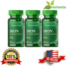 IRON FERROUS SULFATE 65 MG ANEMIA ANEMIC BLOOD LOW ENERGY SUPPLEMENT 300 TABLETS