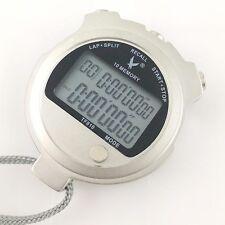New Scientific Metallic 2 row display 10 dual split Swimming Stopwatch Timer