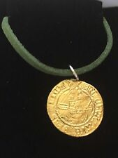 """Henry VIII Half Angel Coin WC47 Gold English Pewter On a 18"""" Green Cord Necklace"""