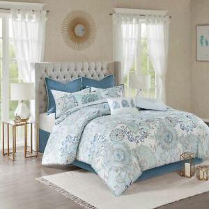 Luxury 8pc Blue Botanical Floral Cotton Comforter Set AND Decorative Pillows