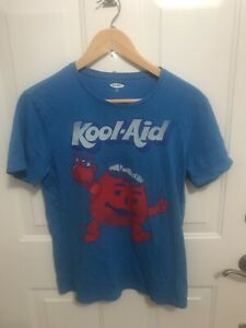 """Vintage Kool-Aid Man """"Oh Yeah"""" Promo Red Drink Blue T-Shirt. Adult Size Small"""