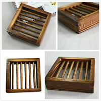 Natural Wood Wooden Soap Dish Storage Tray Holder Bath Shower Plate Bathroom UQ