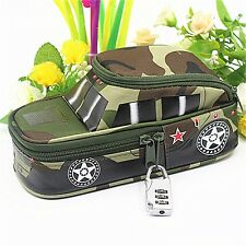 Pen School Pencil Case Tank Bag With Combination Lock For Boys Kids Double Zip