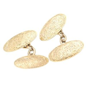 Vintage 9Carat Yellow Gold Patterned Cufflinks (9x18mm)