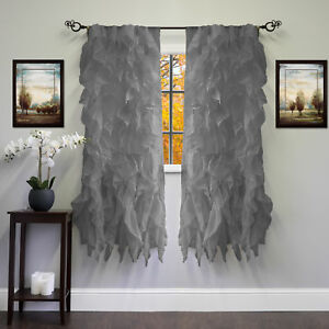 """Chic Sheer Voile Vertical Ruffled Tier Window Curtain Single Panel 50"""" x 63"""""""