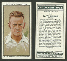 PLAYER'S 1934 CRICKETERS W.W.KEETON Card No 16 of 50 CRICKET CIGARETTE CARD