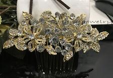 USA Seller Gold tone wedding bridal crystal rhinestone hair comb 07081728