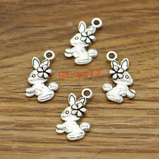50pcs Bunny Charms Rabbit in Mirror Charms Antique Silver Tone 18x11mm 0079