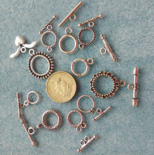 10 un. estilo tibetano alternar Broches mixta forma hallazgos de plata antigua