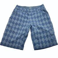 "Lululemon Men's 34 Chief Cargo Shorts Blue Gray Argyle Diamond  Plaid 12"" Inseam"