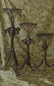 "3 CANDLE STANDS 12"",16""&21"" Maybe wrought Iron, Is magnetic, Candle plat is 4.75"