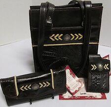 NWT American West Handmade Leather Handbag Purse Shoulder Bag~Wallet/Cell Phone