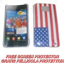 Pellicola+custodia BACK cover USA FLAG NEW per Samsung I9100 Galaxy S2 I9105
